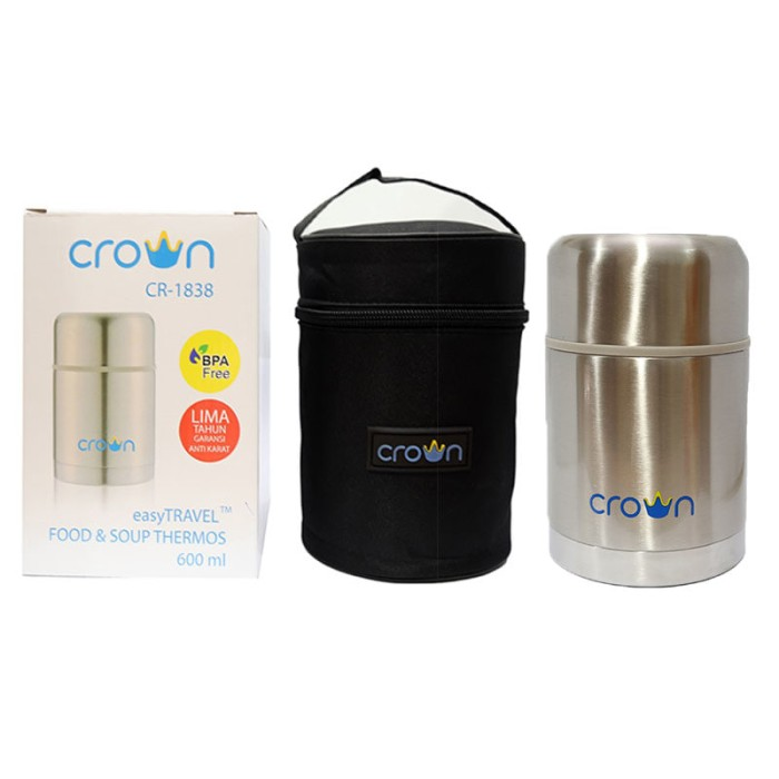 harga Crown easy travel food soup jar thermos (termos makanan) 600ml Tokopedia.com