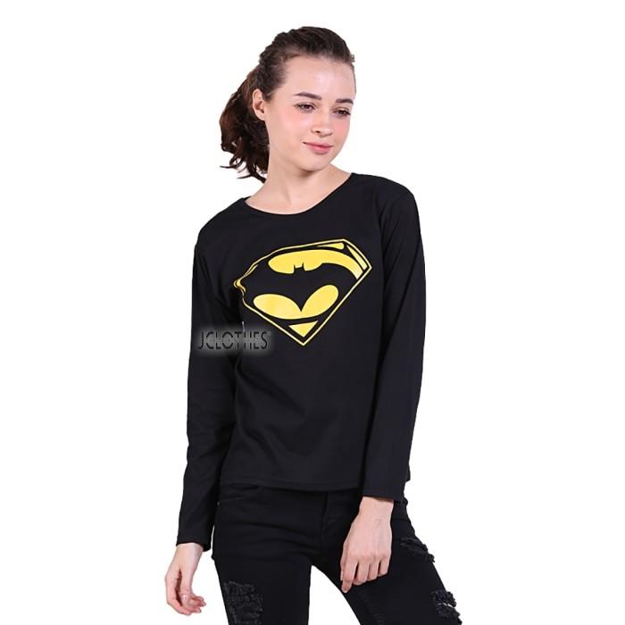 harga Kaos lengan panjang wanita batman vs superman - hitam Tokopedia.com