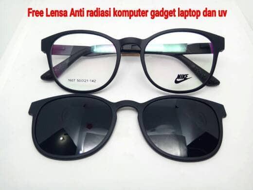 kacamata frame Nike clip on polarize Bulat free Lensa Anti Radiasi UV cbdb739035