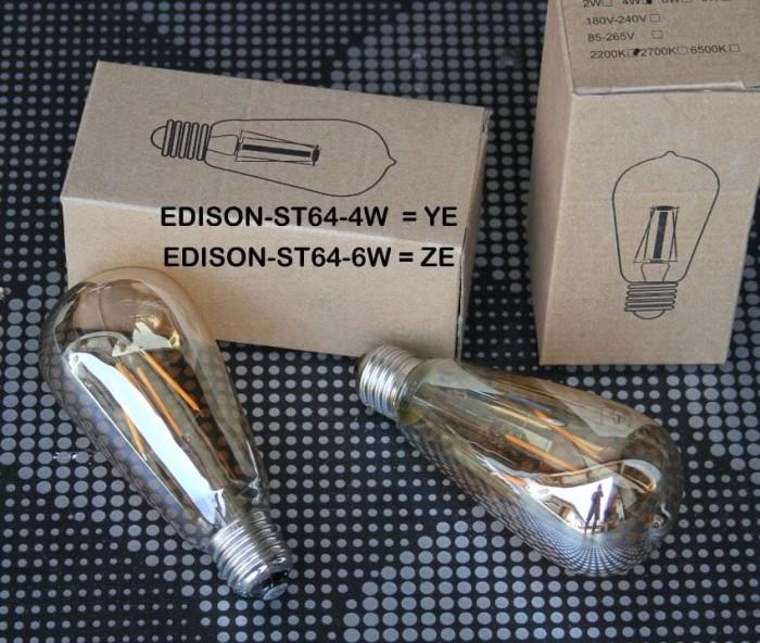 Bohlam lampu led edison / filament st64 kuning