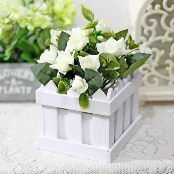 harga Bunga plastik hias artificial + pot pagar kecil mawar / fence rose e3 Tokopedia.com