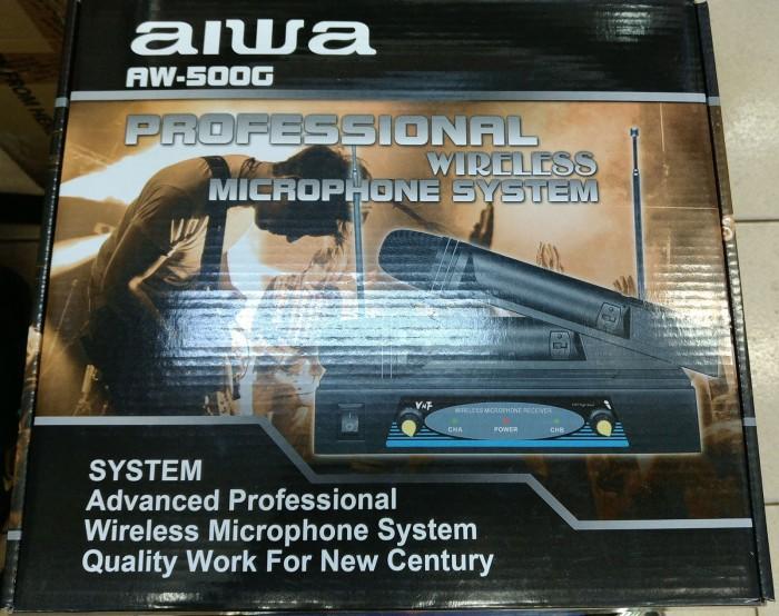 harga Mic wireless aiwa aw-500g double wireless microphone premium voice top Tokopedia.com