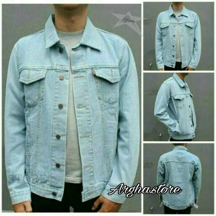 Jaket Jeans Reguler Biru Muda Pudar - Beli Harga Murah 682b34396c