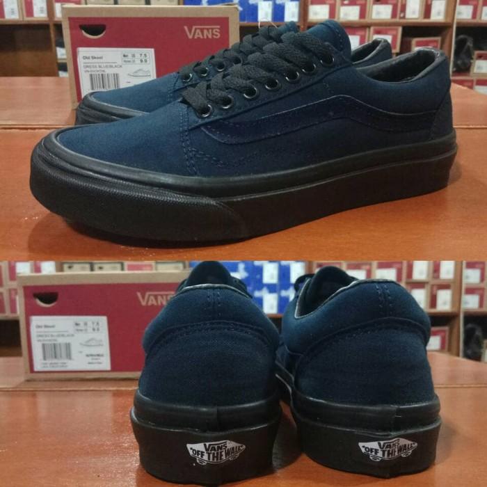 Sepatu Vans Oldskool Dress Navy Blue Biru Dongker Sole Black Hitam