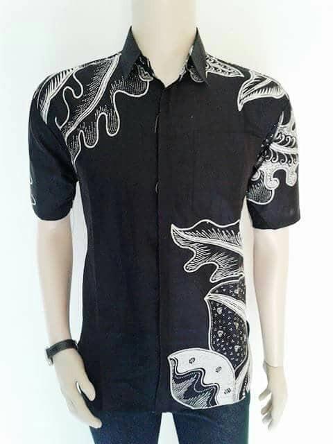 harga Kemeja Batik Pekalongan Hitam Manis Motif Daun + Batik Modern+ Murah Tokopedia.com