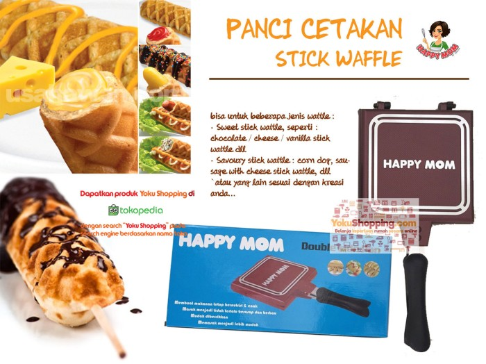 Cetakan Kue Waffle Stick Double Pan Anti Lengket Happy Mom +BubbleWrap
