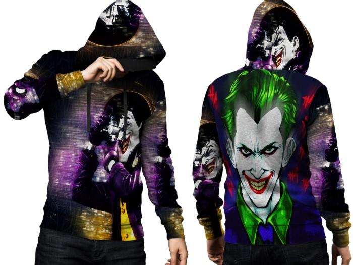 Jaket hoodie sweater pria joker 3d fullprint pullover 001