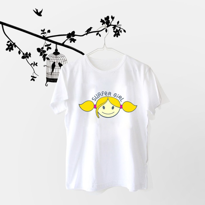 harga Tumblr tee / t-shirt / kaos wanita lengan pendek surfer girl putih Tokopedia.com
