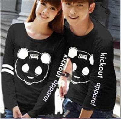 Jual Baju Couple Trendy Kaos Kickout Lp Hitam Abu Biru