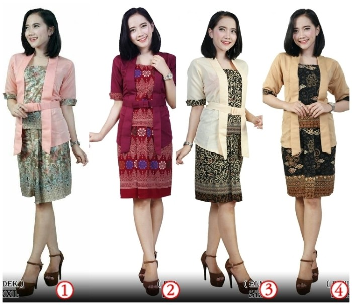harga Kebaya jadi lengan pendek kutu baru batik stelan modern blouse dress Tokopedia.com