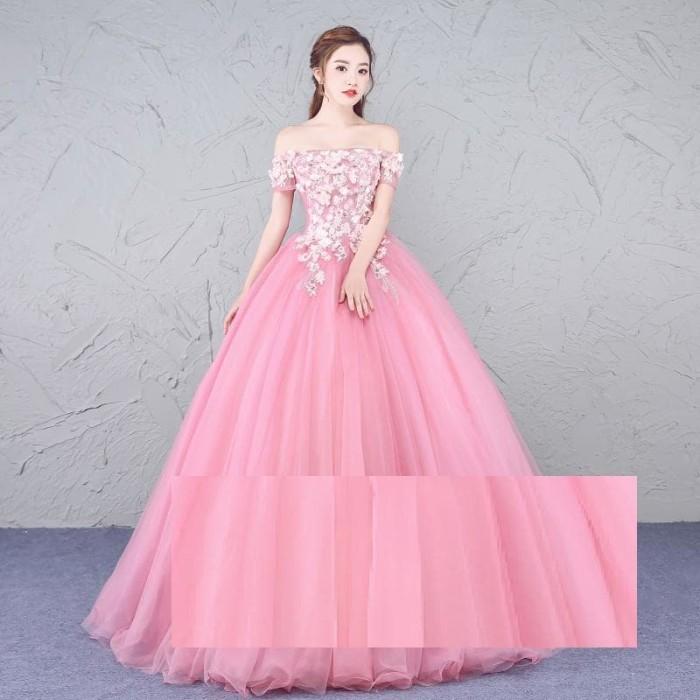 Jual 1709030 Pink Sabrina Gaun Pengantin Wedding Gown Dress Kota
