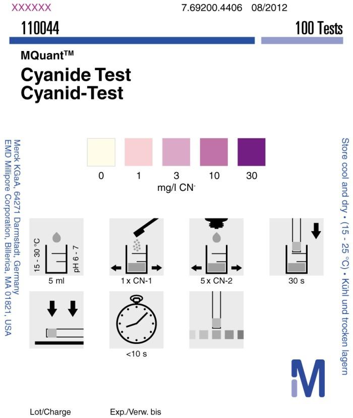 Foto Produk Cyanide Test Merck 1-30 mg/l CN, Cyanide Test Strip Merck 110044 dari Fast Test