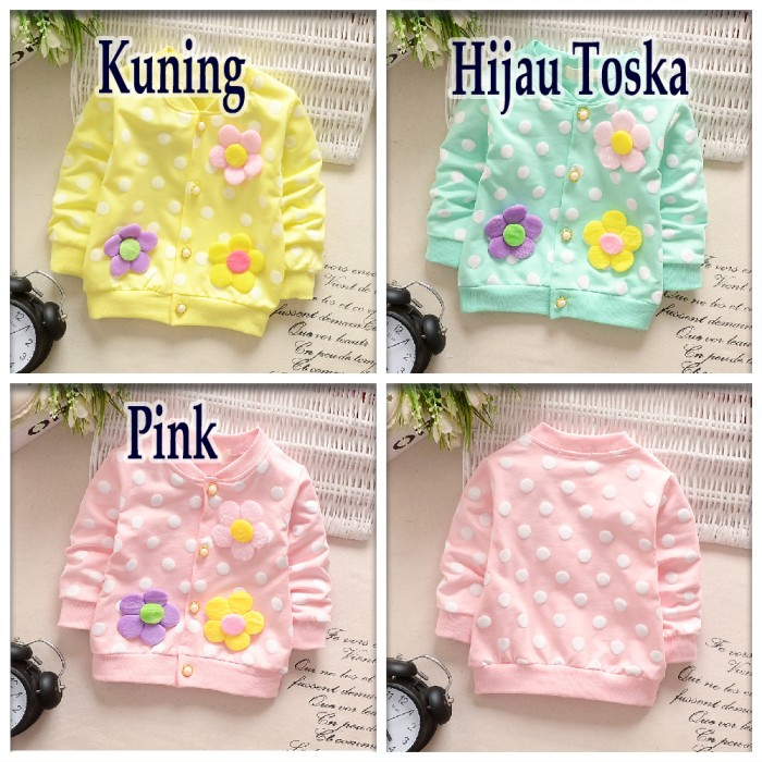 harga Jaket cardigan anak perempuan 1-4 tahun - motif bunga polka [b1003] Tokopedia.com