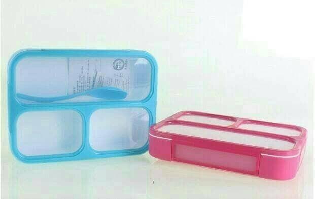 Kotak makan bento/lunch box grid sekat 3 yooyee anti bocor
