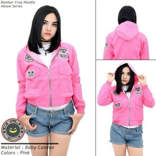 Jual Jaket Bomber Wanita - Bomber Crop Hoodie Helaw Series Pink ... 53732859f9