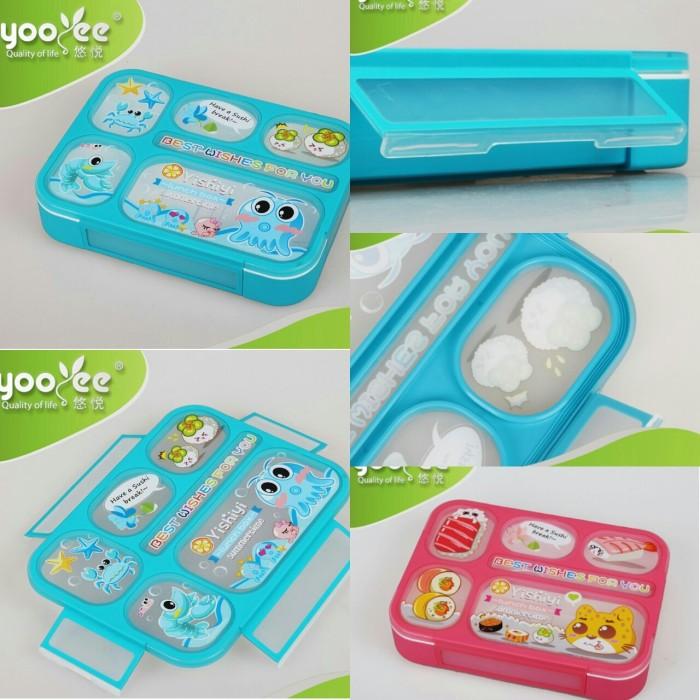 Grid lunch box  kotak makan yooyee bento 6sekat kotak bekal anti bocor
