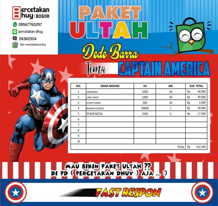 Jual Paket Ulang Tahun Tema Kartun Captain America Kab Bogor Percetakan Dhuy Tokopedia
