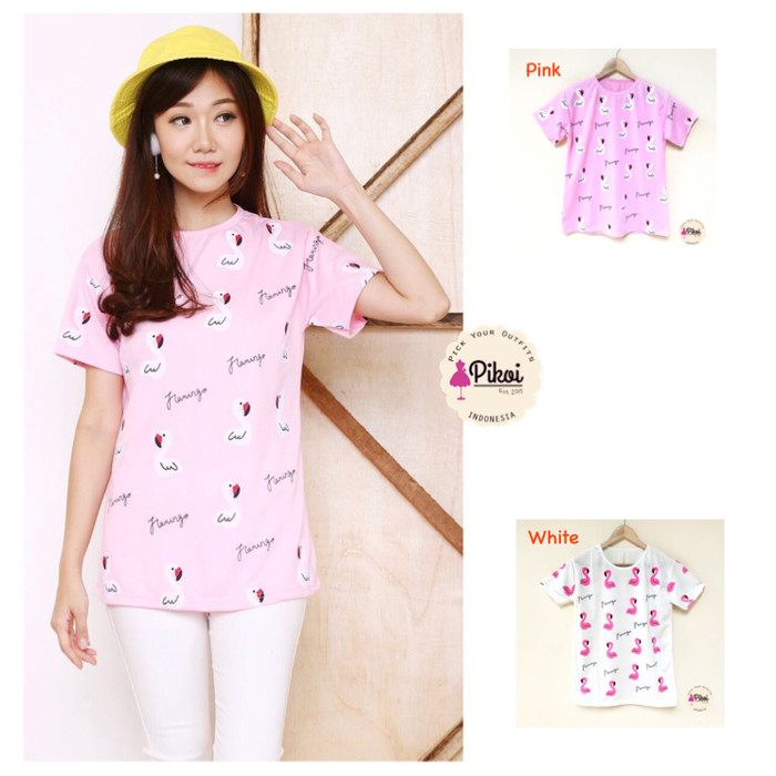 harga Kaos cewek murah / kaos flamingo / burung / putih / pink / 859 Tokopedia.com