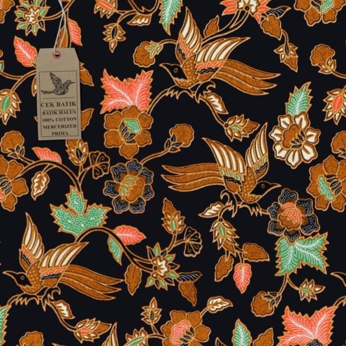 harga Kain motif batik unik bunga burung (hitam manis) Tokopedia.com