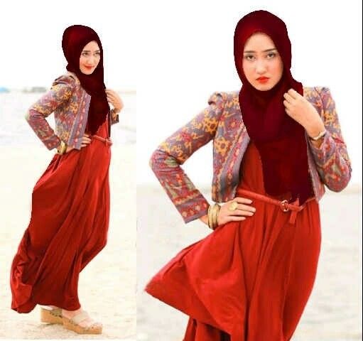 Foto Produk MAXY DRESS WANITA PLUS BLAZER PASHMINA - MAXI MARGON RED dari KPStore Fashion Online