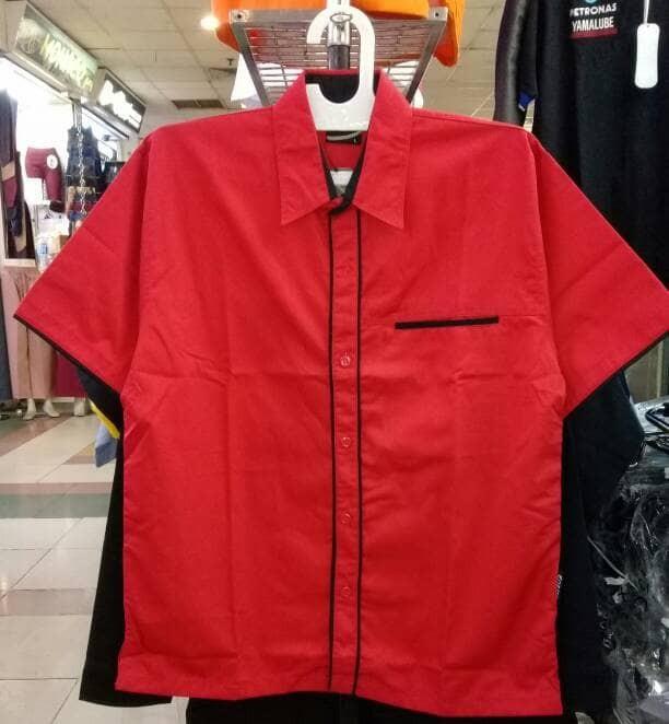 kemeja seragam ep02 merah lis hitam