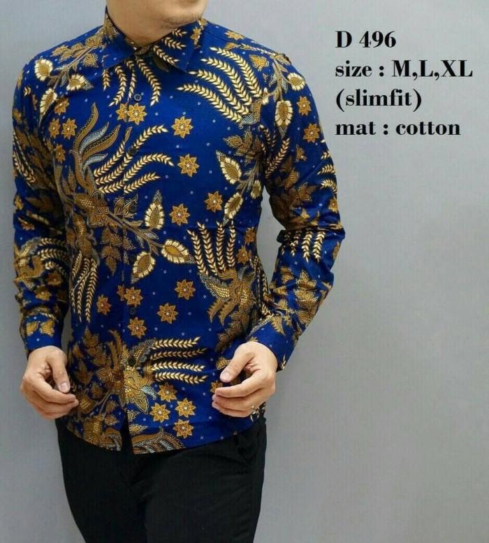 45 Model Baju Batik Pria Biru Kekinian