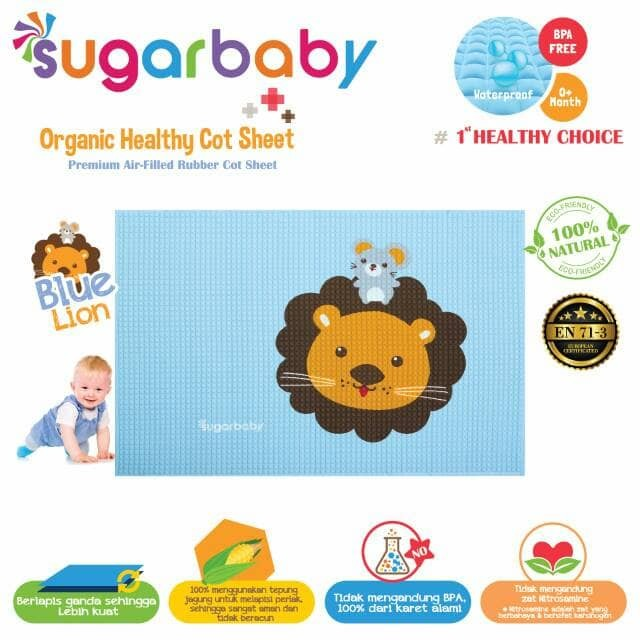 Perlak karet organik sugar baby motif blue lion / perlak bayi