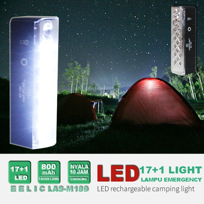 EELIC LAS-M189 HITAM Lampu Senter 17+1 LED Emergency