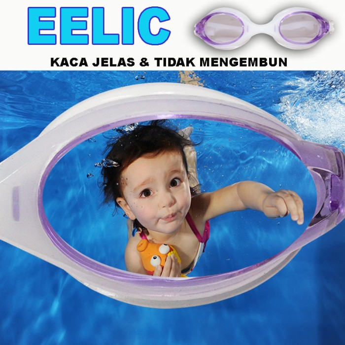 Eelic kar-9700 ungu kaca mata renang anak usia 2 - 7 tahun