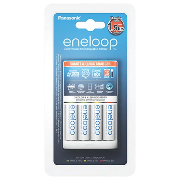 Foto Produk Panasonic Smart & Quick Charger A2 4pcs Eneloop Battery AA A3 1900 mAh dari Data Point Cellindo