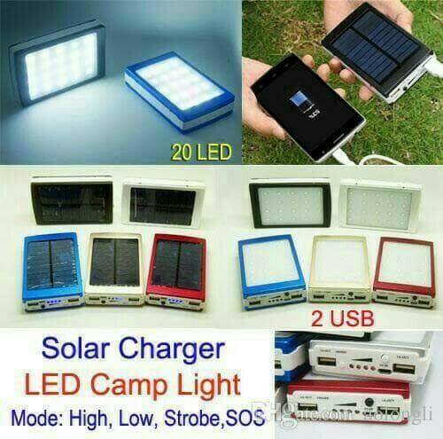 Power Bank Solar Lampu LED Tebal