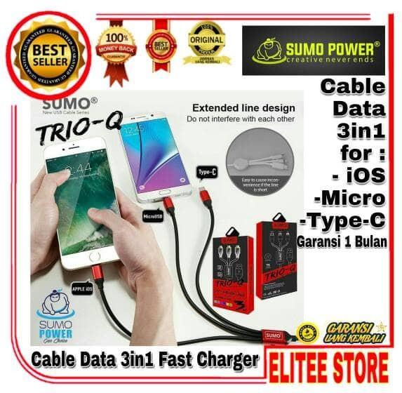 harga Sumo trio-q cable data 3in1 android/apple iphone ios lightning/tipe-c Tokopedia.com