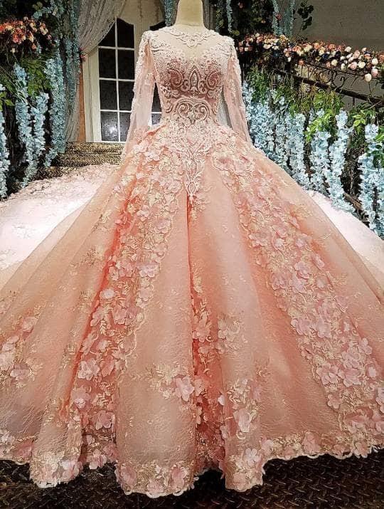 Jual 12585 Gaun Pengantin Royal Premium Wedding Dress Pink Payet