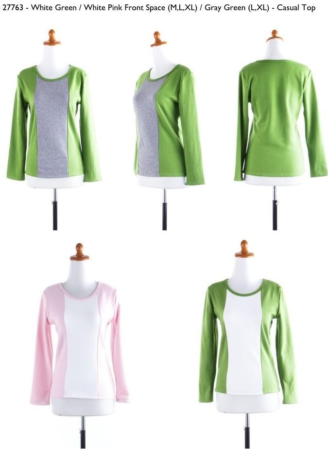 Jual Baju atasan casual kombinasi warna Putih pink Puth