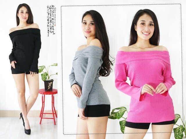 [knit Sabrina Ft] Blouse Wanita Softknit Var Color