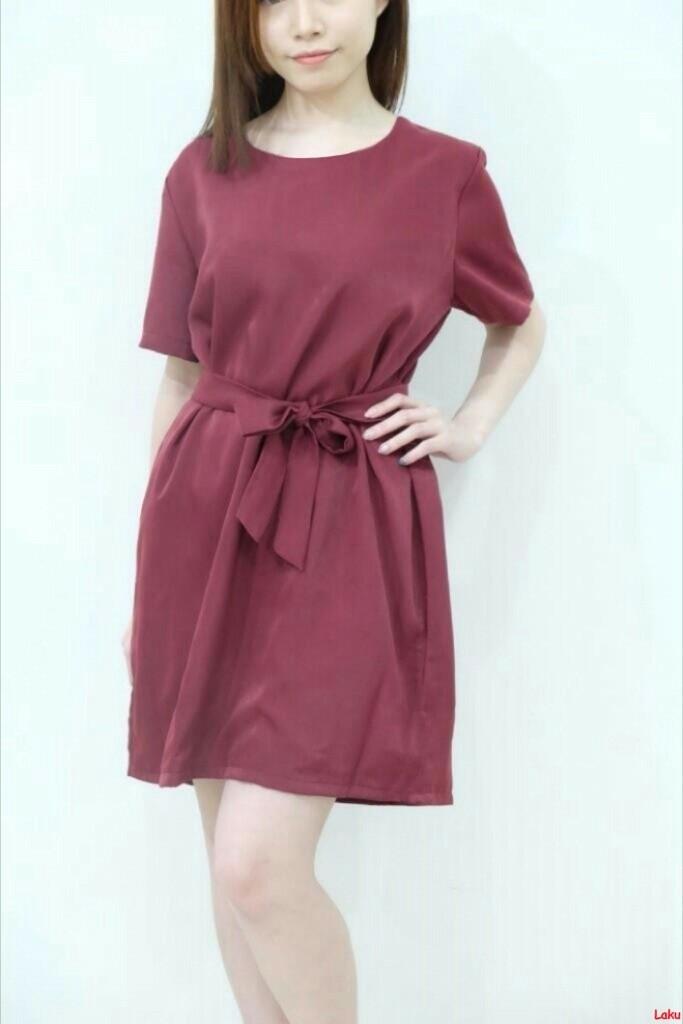 basic dress/mini dress polos/dress wanita kantor/dress ribbon/ft