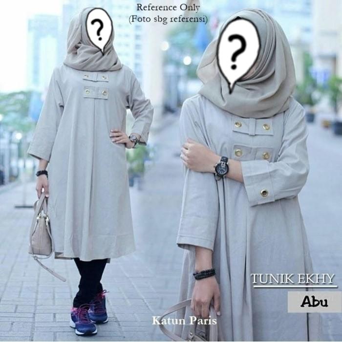 Baju Atasan Muslim Wanita / Blouse Muslim [tunik Ekhy Abu]