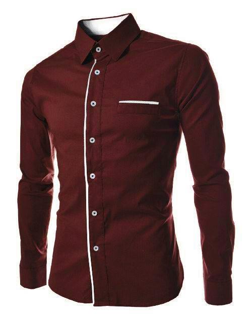 SALE [peter maroon XL] kemeja pria katun stretch maroon ukuran XL MURA