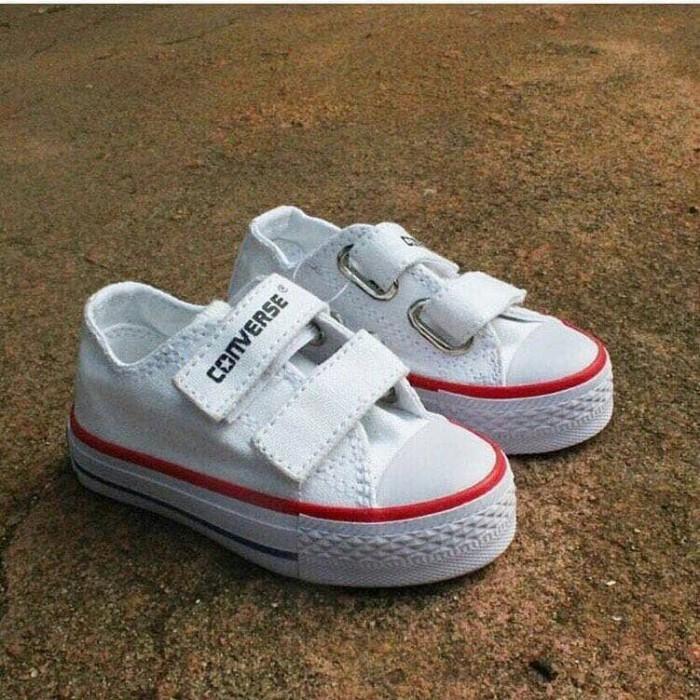 Jual Sepatu Converse anak kids Putih perekat Tali Pendek tinggi ... d201393f73