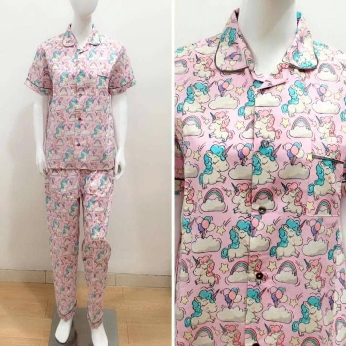 Jual Baju tidur dewasa wanita piyama dewasa motif Unicorn pink ... 69845d192a