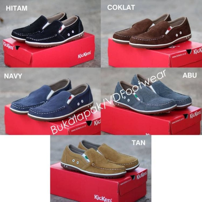 ... harga Sepatu slip on pria kickers kulit slop cowok santai formal kerja  murah Tokopedia.com 7d89c0915a
