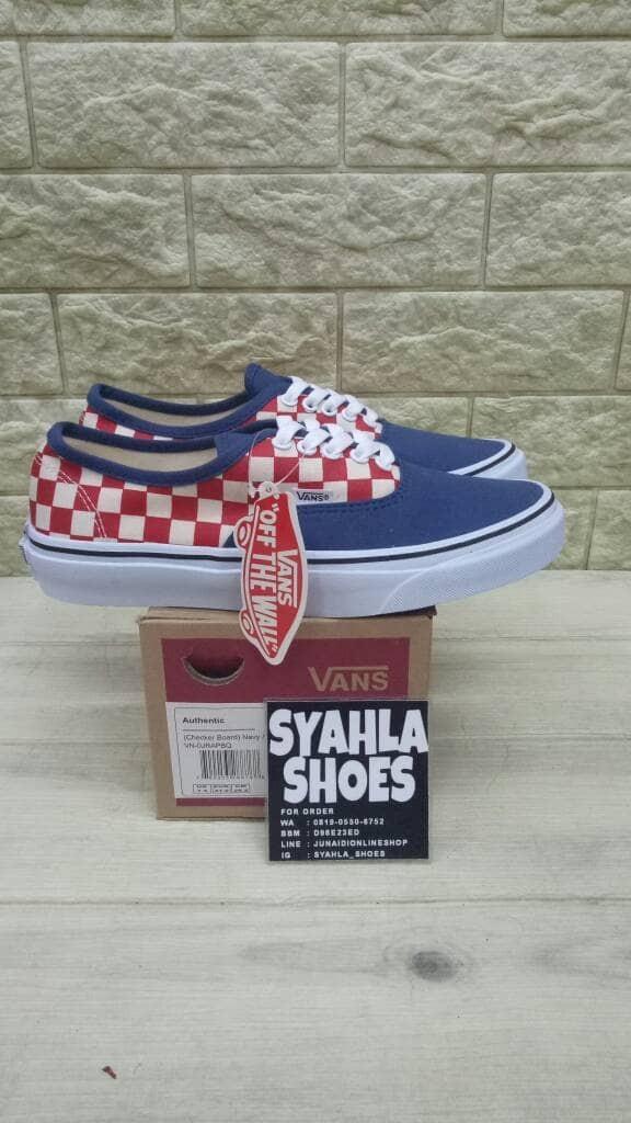Jual VANS AUTHENTIC CHECKERBOARD NAVY RED BNIB - Jakarta Selatan - Syahla  Shoes | Tokopedia