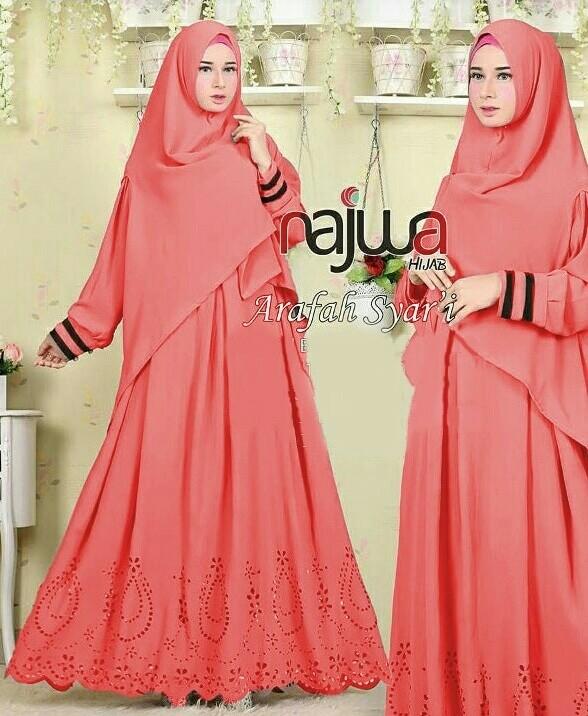 harga Najwa syari salem + kerudung   dress muslim maxi  pakaian import murah Tokopedia.com