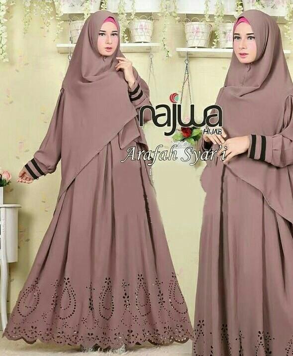harga Najwa syari milo + kerudung   dress muslim maxi  pakaian import murah Tokopedia.com