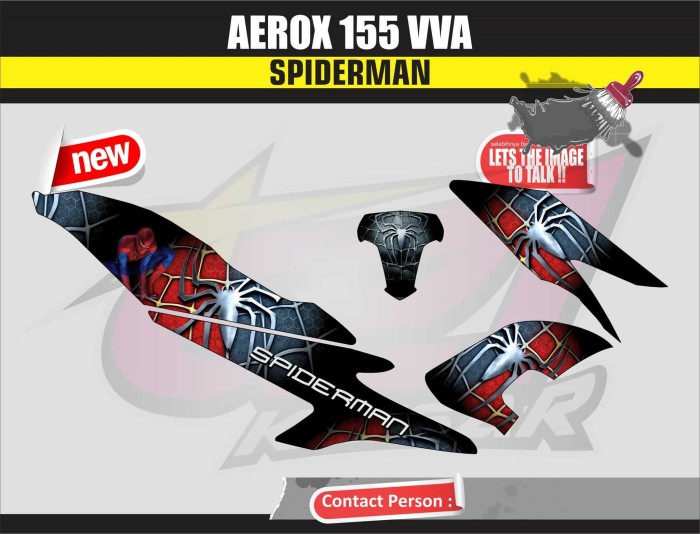 harga Sticker motor aksesoris body motor aerox 155 spiderman merah Tokopedia.com