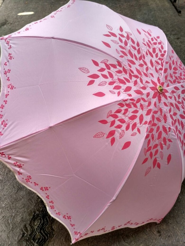 Payung cantik dan bagus lipat 3 8 jari daun bunga bergelombang rosida