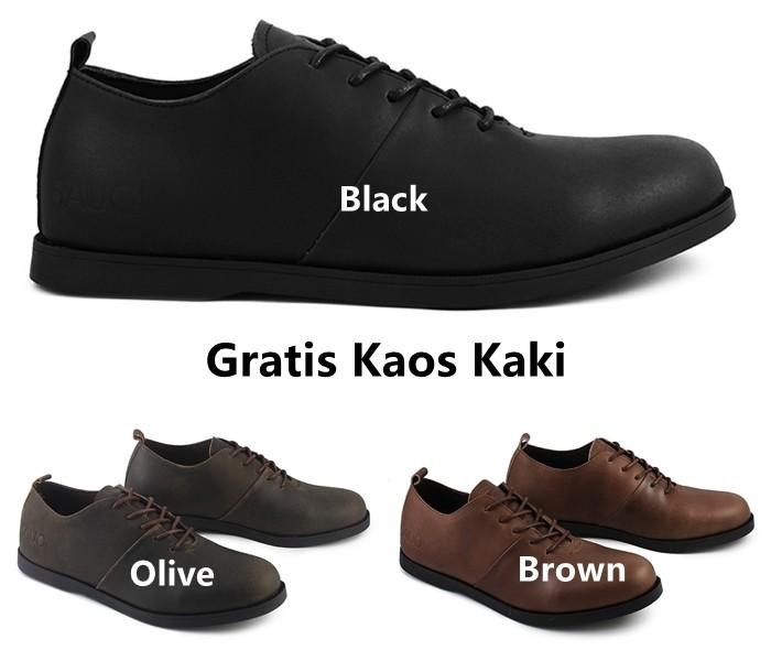 Foto Produk Sepatu Casual Pria Sauqi Footwear Vegas Series Kulit Asli PU Sneakers - Hitam, 39 dari TikhaNaDian Store