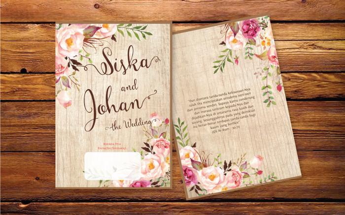 F Kartu Undangan Pernikahan Rustic Vintage Floral Full Colour