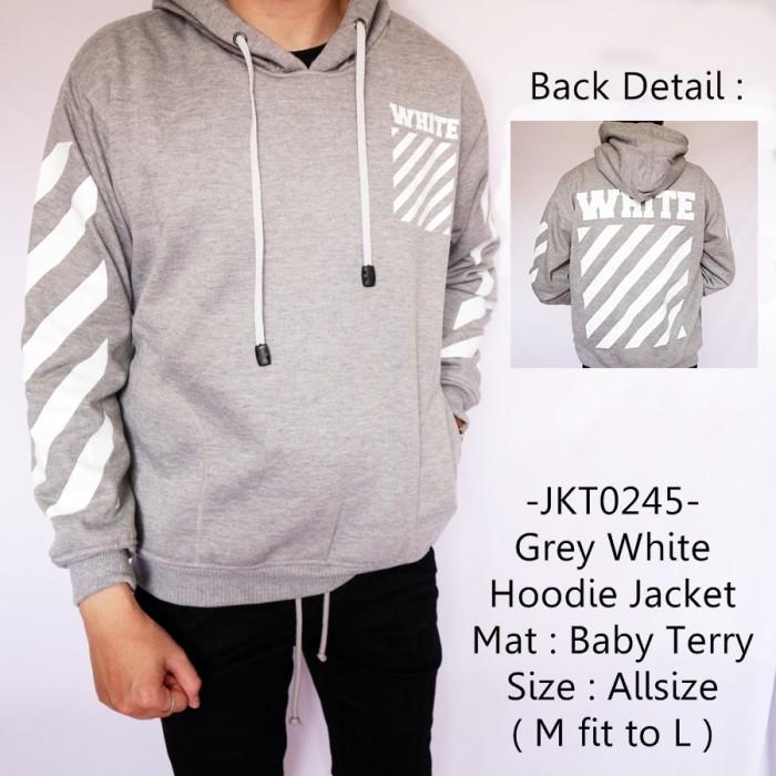 harga Jaket fashion casual cowok terbaru gaul grey white hoodie jacket - 245 Tokopedia.com