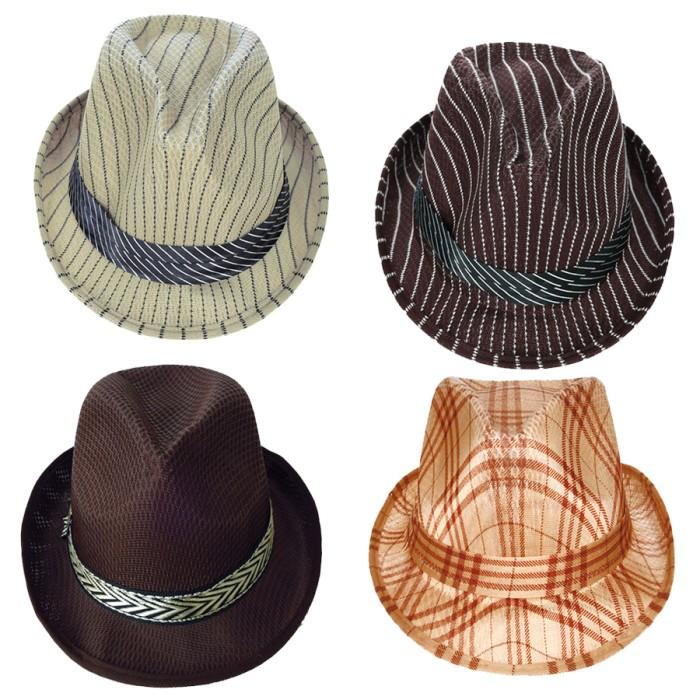 topi tompi topi pria topi cowok topi topi artis topi fedora tartan -  Cokelat Muda f1b22fbfa9